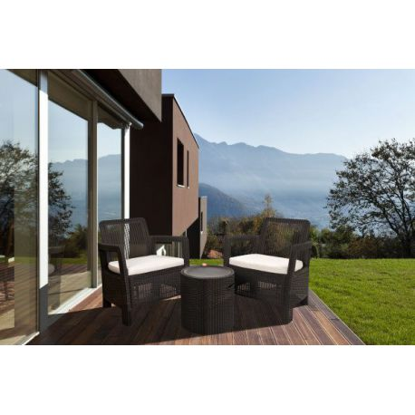 Set Tarifa Marrón Mesa Cool Stool+2 Sillones Curver