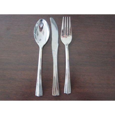 Cuchara Plástico Plateado 10 Unid Comercial Aviles
