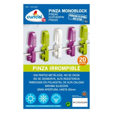 Pinza Ropa Monoblock Irrompible Cuncial