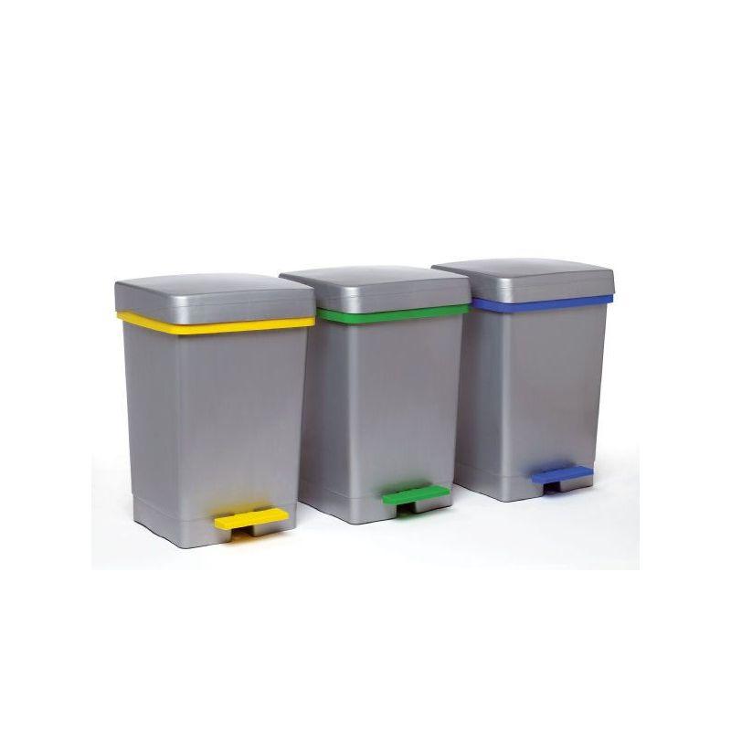 Cubo basura reciclar con pedal y aro de 28l for Cubos de basura con pedal
