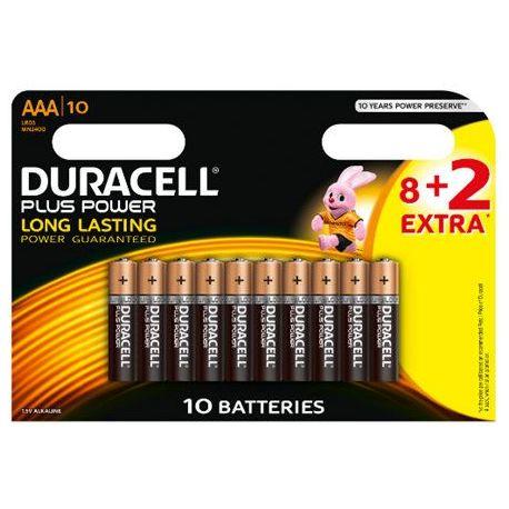 Pila Alcalina Duracell Plus Power Lr03 8+2 Unid