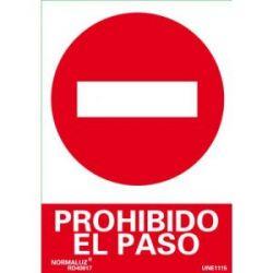Señal Pvc Prohibido El Paso Coches 21X30 Cm