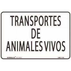 Señal Pvc Transportes de Animales Vivos 30X40 Cm