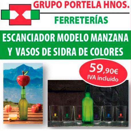 Escanciador Manzana + Vasos de Sidra de Colores