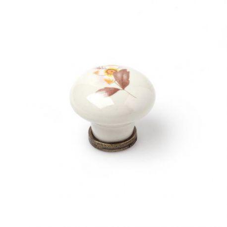 Pomo Porcelana Oval Cuero Viejo Flor Marrón