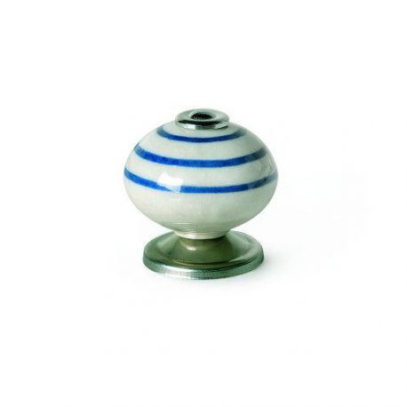 Pomo Porcelana Redondo Rayas Azul