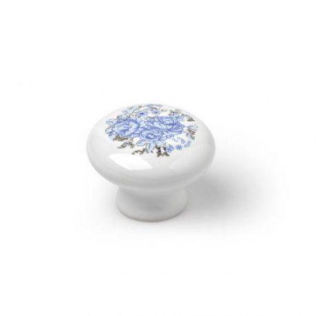 Pomo Porcelana Redondo Semi Oval Azul