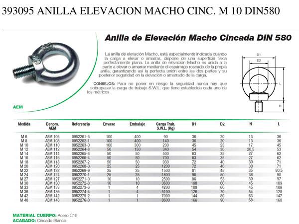 Anilla Elevación Macho Cincada DIN580 DAMESA