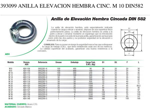 Anilla Elevación Hembra Cincada DIN582 DAMESA