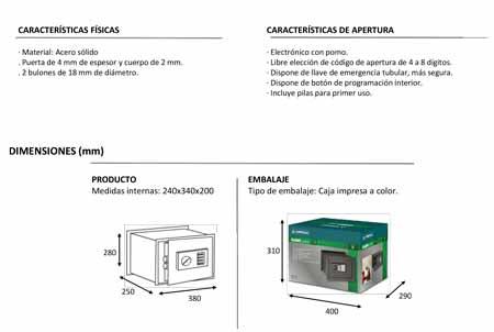 Caja Fuerte Empotrar Electronica