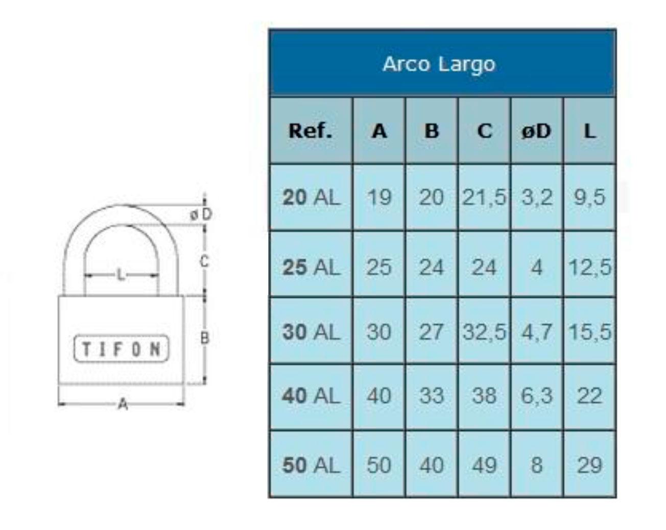 Candado IFAM Serie TIFON Arco Largo