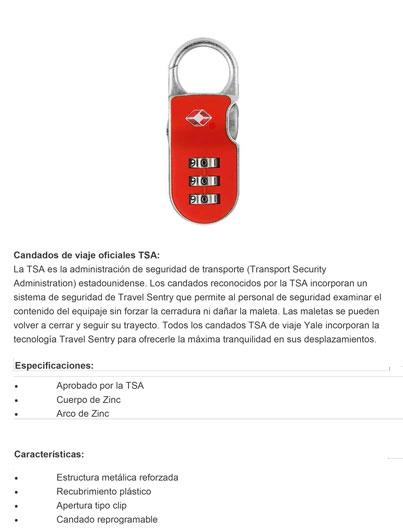 Candado TESA Combinación Maleta TSA I Policial Arco