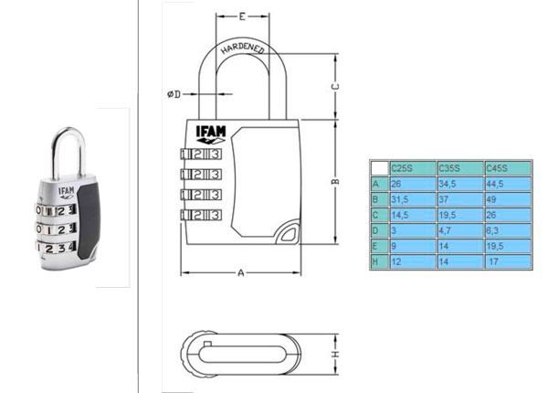 Candado IFAM Combinación C25SBT