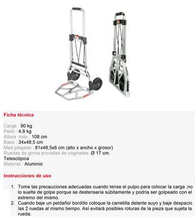 Carretilla Superplegable Aluminio 90kg modelo S10