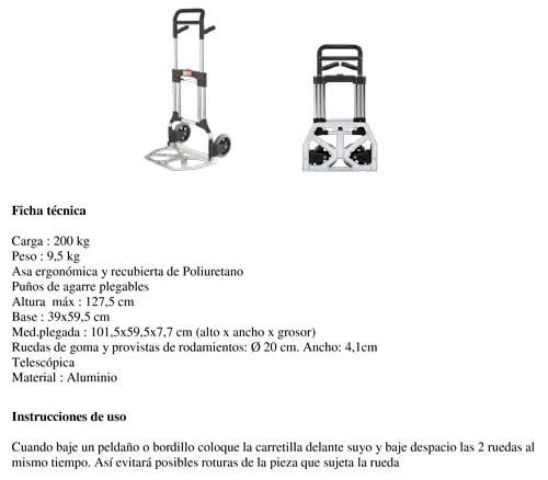 Carretilla Superplegable Aluminio 200kg.