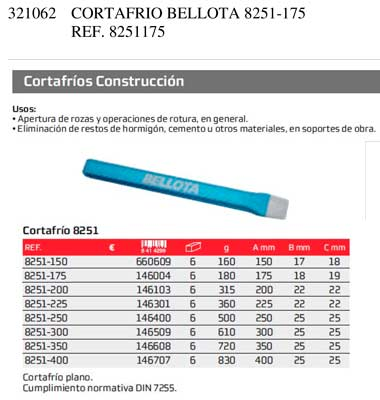 Cortafrio Bellota 8251