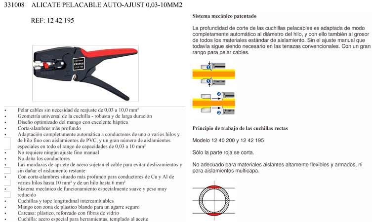 Alicate Pelacable Auto-Ajustado