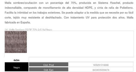 Malla Sombreo Negra 70%