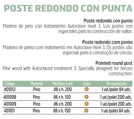 Poste Madera Redondo Punta Autoclavable