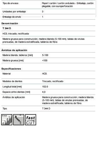 Hoja Sierra Calar T 344 D Madera (3 Unidades)