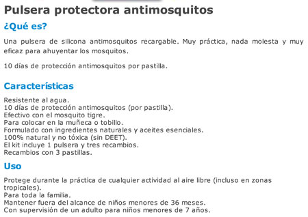 Pulsera Antimosquitos Moskibye + 3 Recambios