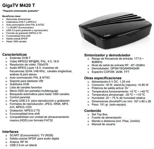 tdt grabador mini gigatv m420 t